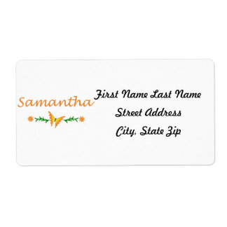 Samantha mariposa anaranjada etiqueta de envío