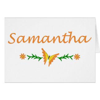 Samantha mariposa anaranjada felicitación