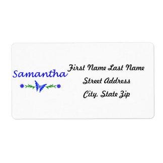 Samantha mariposa azul etiquetas de envío