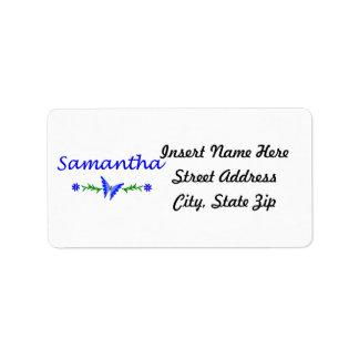 Samantha mariposa azul etiqueta de dirección