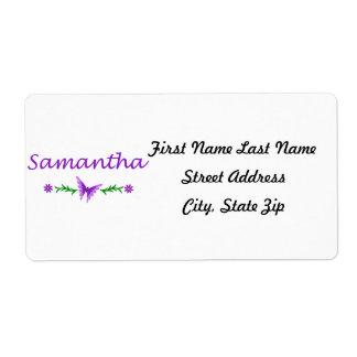 Samantha mariposa púrpura etiqueta de envío