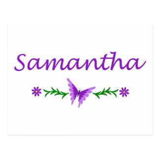 Samantha mariposa púrpura tarjeta postal