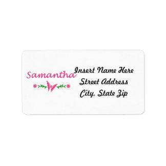 Samantha mariposa rosada etiqueta de dirección