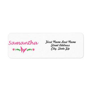 Samantha mariposa rosada etiquetas de remite