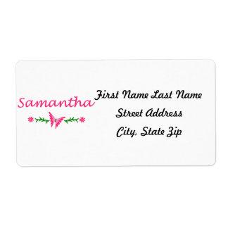 Samantha mariposa rosada etiquetas de envío