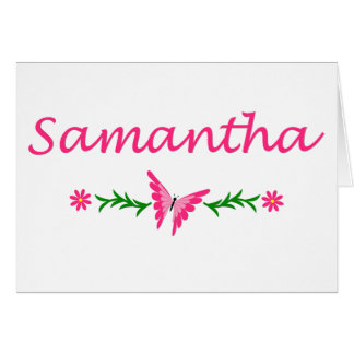 Samantha mariposa rosada tarjeta