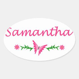 Samantha (Pink Butterfly) Oval Sticker