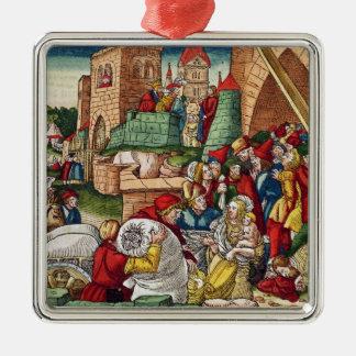 Samaria bajo cerco adorno navideño cuadrado de metal