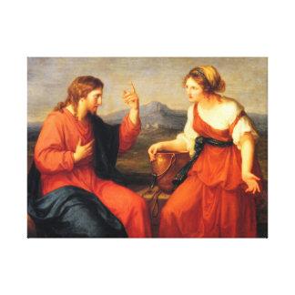 Samaritan woman with Jesus Christ Canvas Print