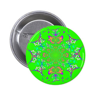 Samba Colorful Bright floral damask design colors Button