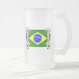 Samba football futebol fans 2010 Brazil flag gifts Frosted Glass Beer Mug