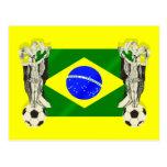 Samba football futebol fans 2010 Brazil flag gifts Post Cards
