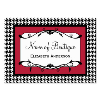 Samba Red and Black Houndstooth Fall Fashion Business Card Templates