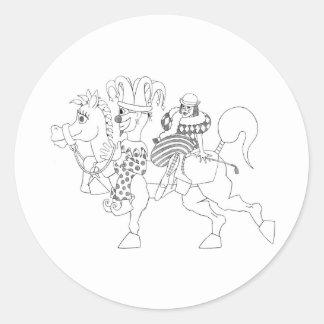 SambukaBlack_harlequin_jester_horseback Pegatina Redonda