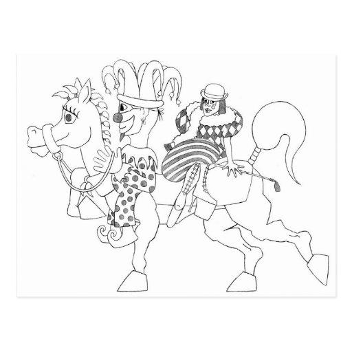 SambukaBlack_harlequin_jester_horseback Tarjetas Postales