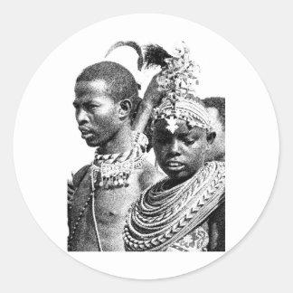 Samburu Boy and Girl Classic Round Sticker