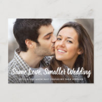 Same Love Smaller Downsized Wedding Simple Photo Announcement Postcard