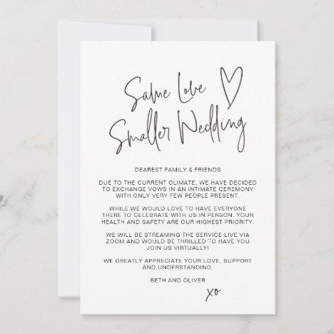 Same Love Smaller Wedding Downsized Script Font Announcement