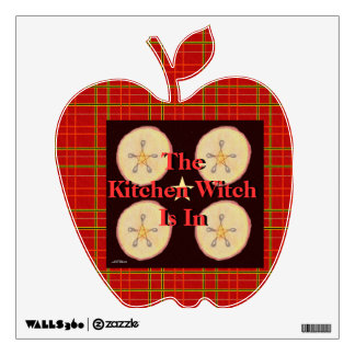 Samhain Apples and Star Pentacle Prim Red Plaid Wall Sticker