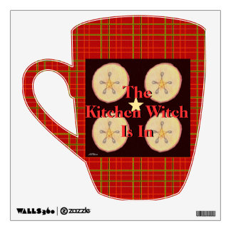 Samhain Apples and Star Pentacle Red Plaid Wall Sticker