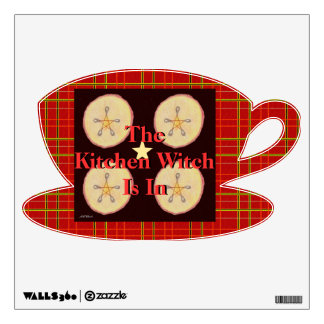 Samhain Apples and Star Pentacle Red Plaid Wall Decal