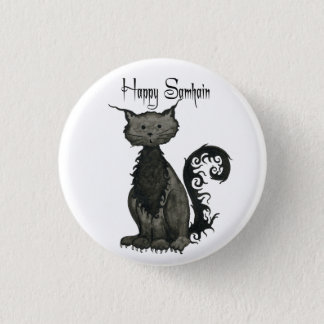 Samhain Black Cat Button