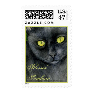 Samhain Black Cat Postage Stamp