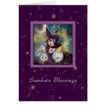 Samhain Blessings - Witch Purple Sparkle Greeting Cards
