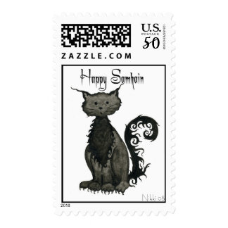 Samhain Cat Postage Stamp
