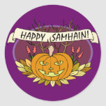 Samhain feliz pegatina redonda