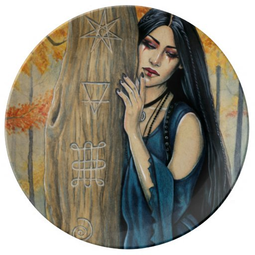 Samhain Gothic Autumn Witch Decorative Plate