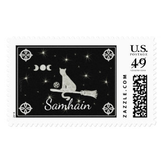 Samhain Magick Cat on Broom Black and White Postage