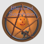samhain pentacle classic round sticker