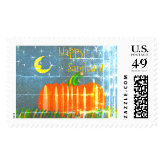 Samhain Pumpkin Under The Moon & Stars Vintage St Postage