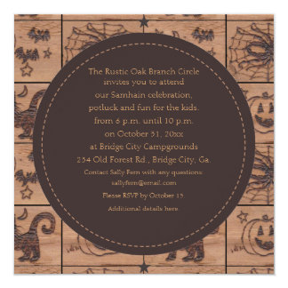 """Samhain remilgado remienda Woodburned retro Invitación 5.25"""" X 5.25"""""""