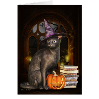 Samhain Witch Kitty Cat Greeting Card
