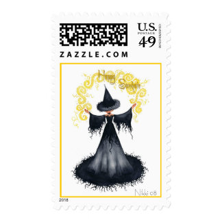 Samhain Witch Postage Stamp