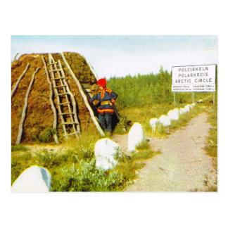 Sami and home at the Arctic Circle, vintage image Postcard