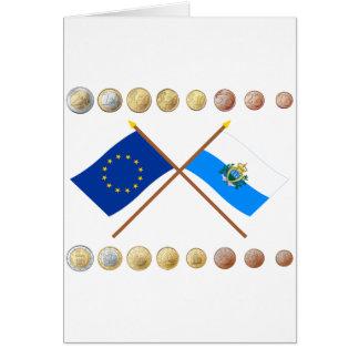 Sammarinese Euros and EU & San Marino Flags Card