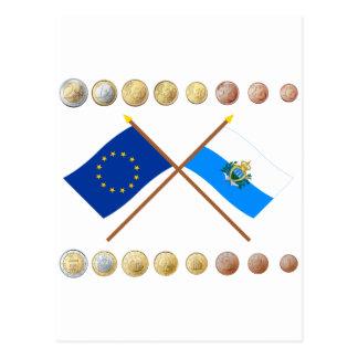 Sammarinese Euros and EU & San Marino Flags Postcard