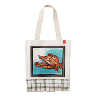 """""""Sammy"""" Fish With Attitude by Mike Quinn Zazzle HEART Tote Bag"""