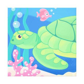 sammy la lona envuelta de la tortuga de mar impresión en lona estirada