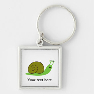 Sammy the Green Garden Snail Silver-Colored Square Keychain