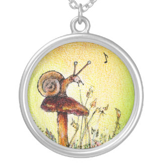 SAMMY THE SINGING SNAIL SILVER PLATED NECKLACE