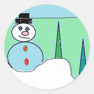 Sammy The Snowman Classic Round Sticker