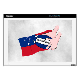"Samoa Flag Rugby Ball Pass 17"" Laptop Decals"