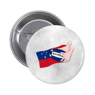Samoa Flag Rugby Ball Pass Button