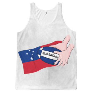 Samoa Flag Rugby Ball Pass Cartoon All-Over Print Tank Top