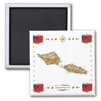 Samoa Map + Flags Magnet