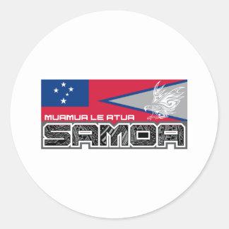 Samoa Muamua Le Atua - bandera de American Pegatina Redonda